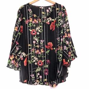 CATO Black Red Pink Floral Striped 3/4 Bell Sleeve